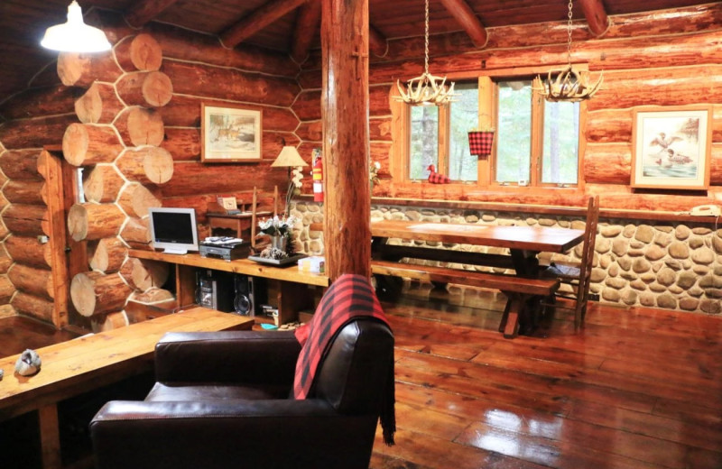 Cabin interior at Drummond Island Resort and Conference Center.