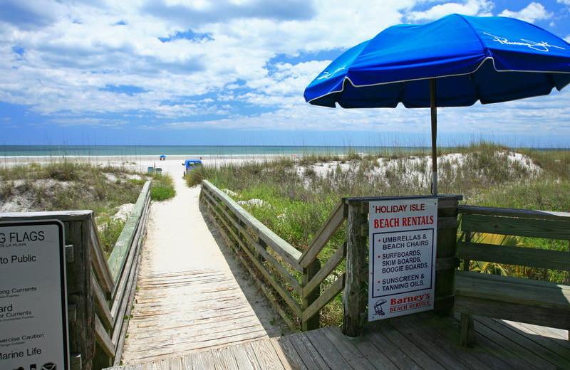 Beach walkway at Holiday Isle Oceanfront Resort.
