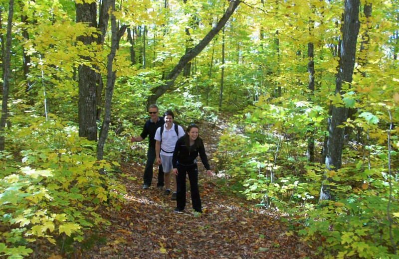 Hiking in the woods at Bluefin Bay on LChateau LeVeaux.