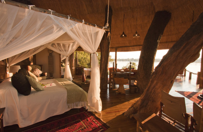 Guest room at Tongabezi Lodge.