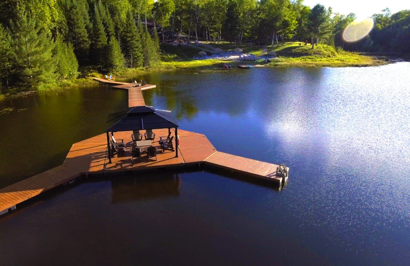 Long dock onto private lake, great place for a morning coffee to hear the loons