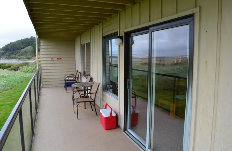 Guest balcony at Hi-Tide Ocean Beach Resort.