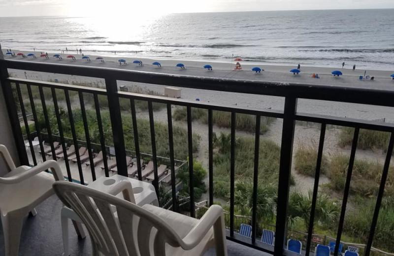 Beach view at Ocean Plaza Golf Resort.