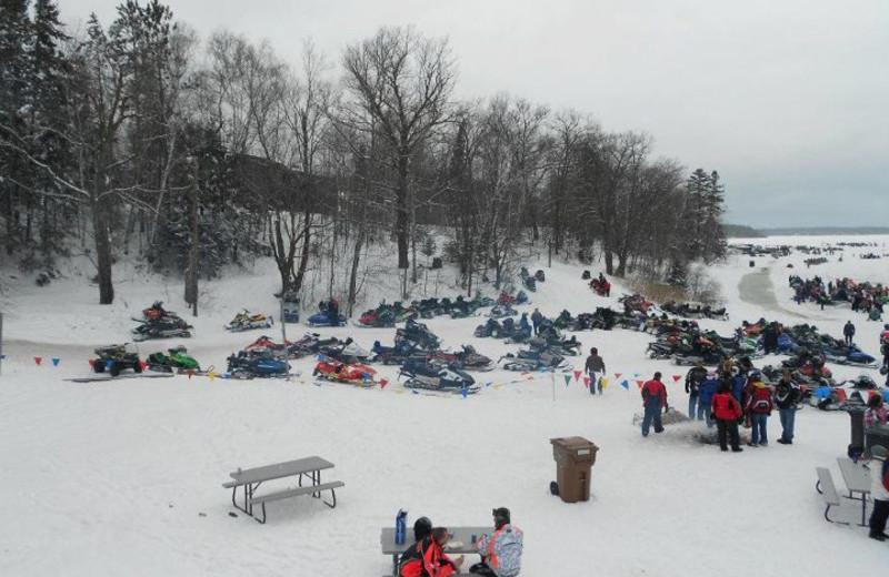 Snowmobiling near Lakewoods Resort.