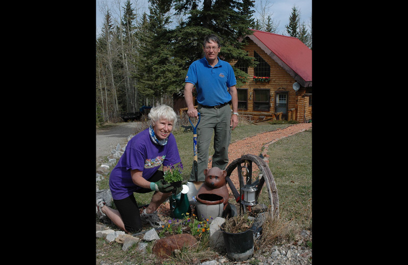 Couple at Gingerbread Cabin.
