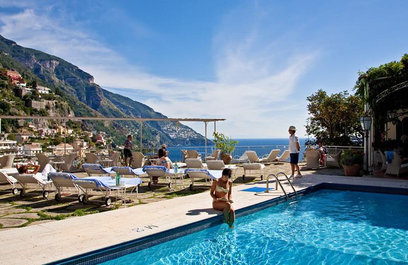 Outdoor pool at Romantik Hotel Poseidon.