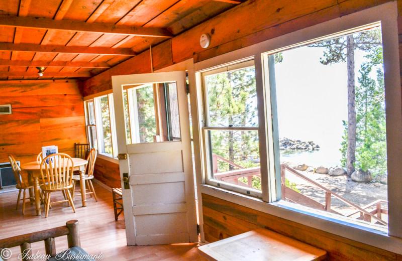 Cabin dining room at Meeks Bay Resort & Marina.