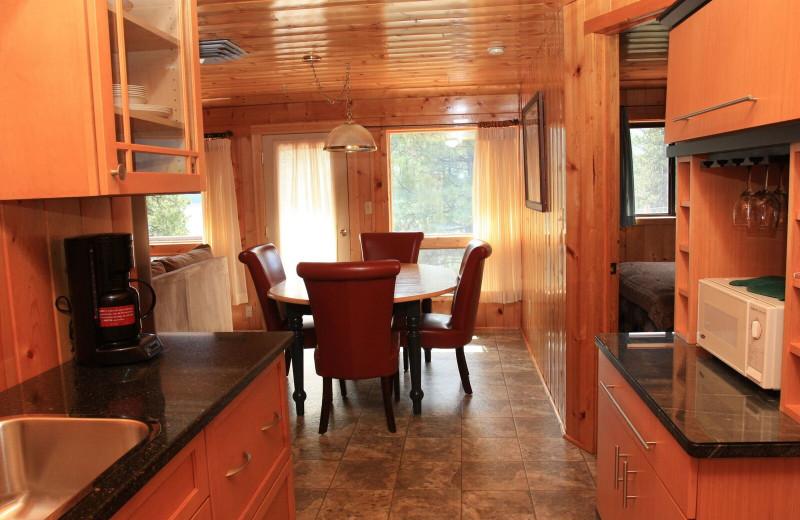 Cabin kitchen at Pine River Lodge.