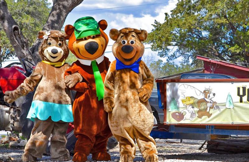 Mascots at Yogi Bear's Jellystone Park Hill Country.