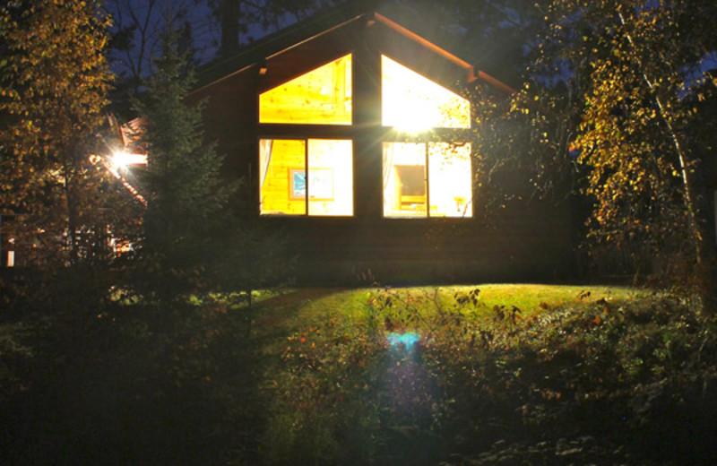 Exterior Night Cabin View at Pehrson Lodge Resort