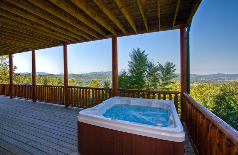 Cabin hot tub at The Cabin Rental Store.