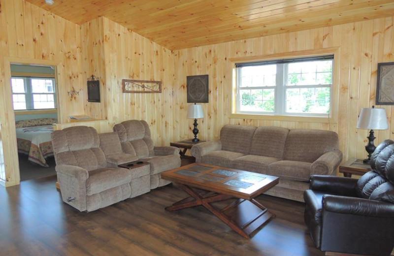 Cottage living room at Angel Rock Waterfront Cottages.