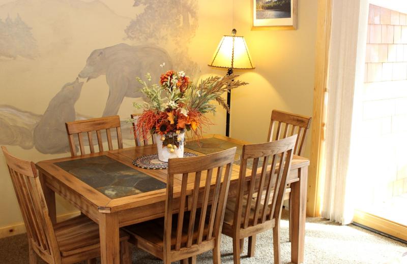 Condo dining room at Bear Creek Vacation Condos.