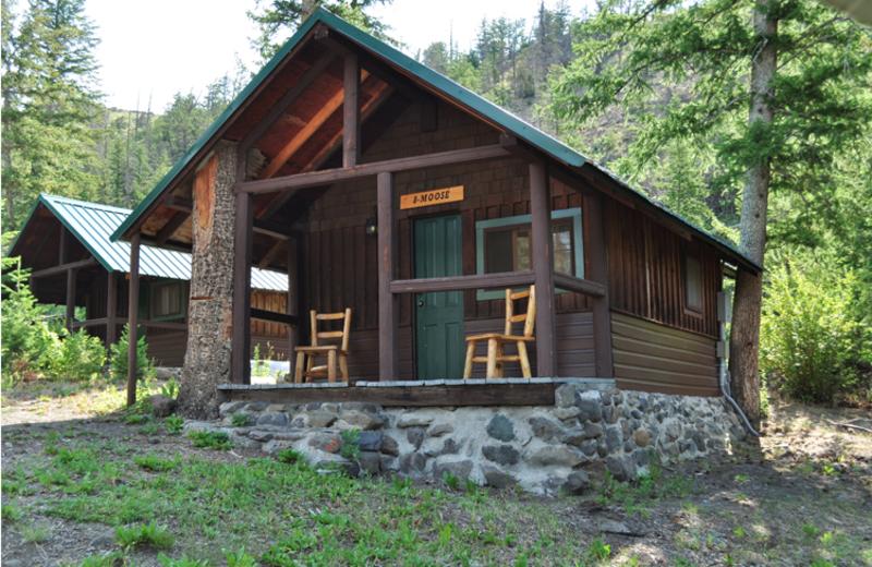Cabin exterior at Crossed Sabres Ranch.