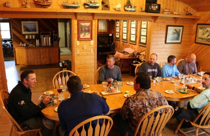 Dining at Alaska Rainbow Lodge.