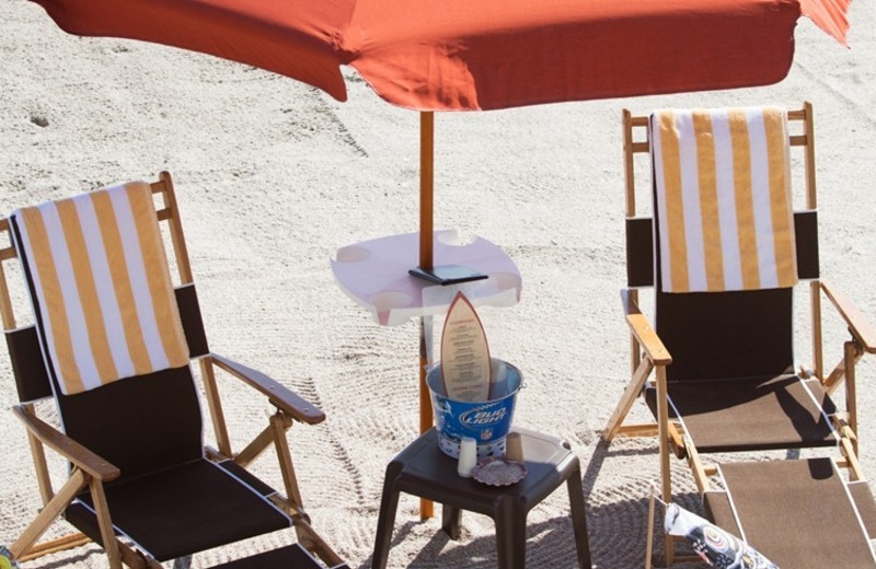 Beach chairs at Crowne Plaza Melbourne Oceanfront Resort.