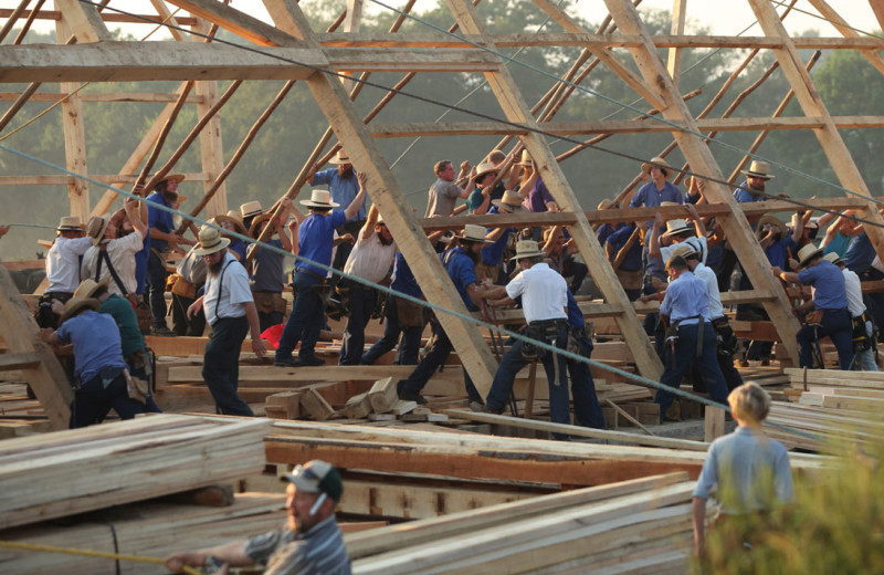 Amish barn raising at Berlin Hotel & Suites.
