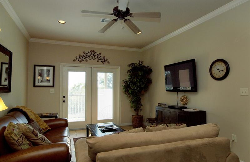 Rental living room at River City Resorts.