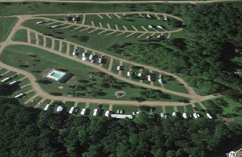 Aerial view of The Homestead at Ottertail RV Park and Resort.