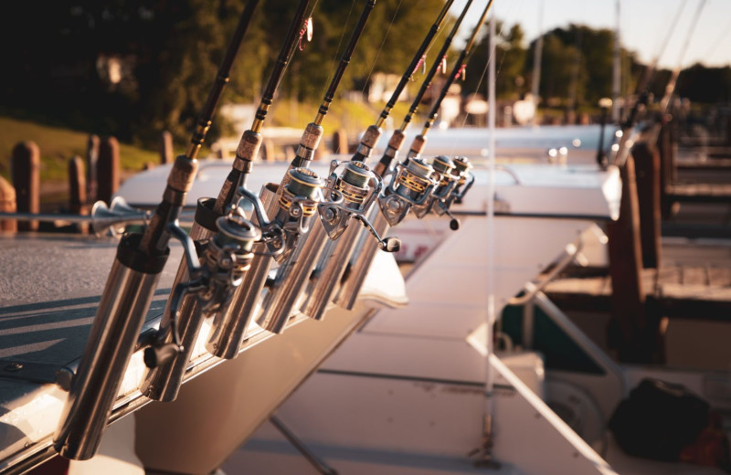 Fishing rods at River Bend's Resort & Walleye Inn.
