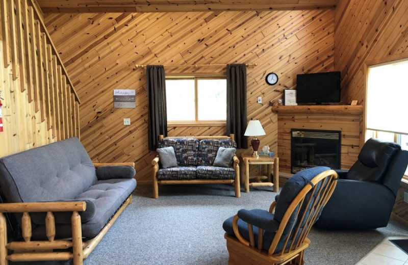 Cabin living room at Lakecrest Resort.