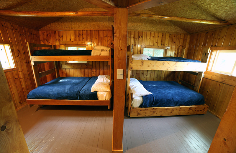 Cabin beds at Cliff Lake Resorts.