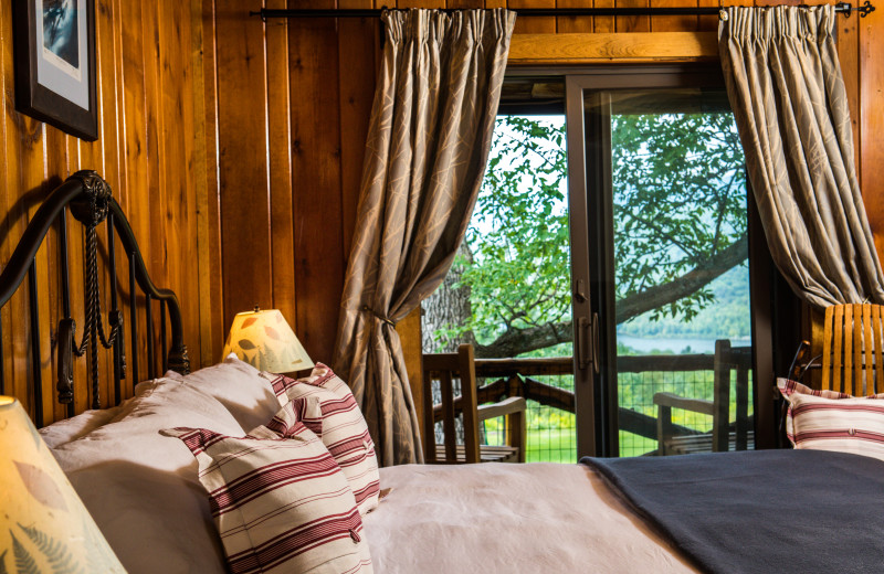Balcony Room at Garnet Hill Lodge with stunning lake and mountain views.