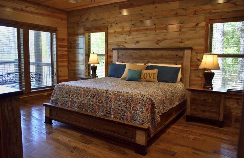Rental bedroom at White Glove Luxury Cabins.