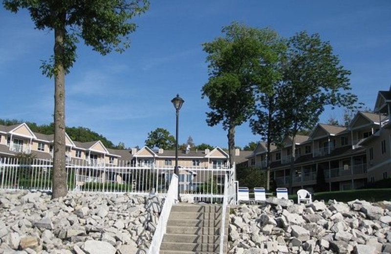Stairs to lake at Westwood Shores Waterfront Resort.