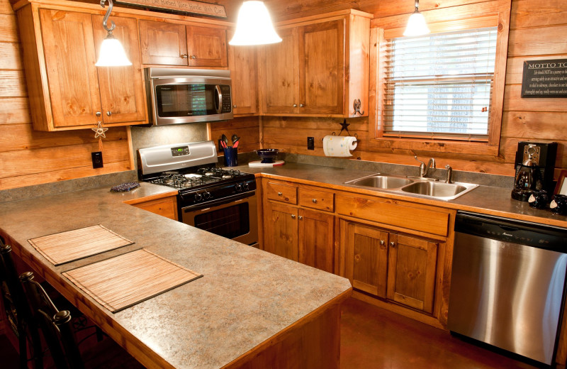 Cabin kitchen at Remember When Cabins.