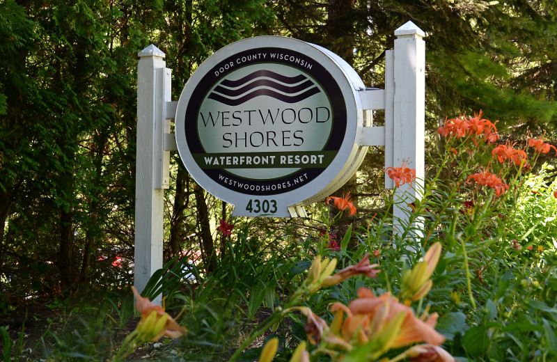 Welcome sign at Westwood Shores Waterfront Resort.