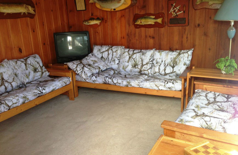 Sitting room at Crooked Lake Wilderness Lodge.