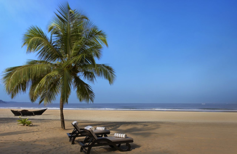 The beach at The Leela Goa.