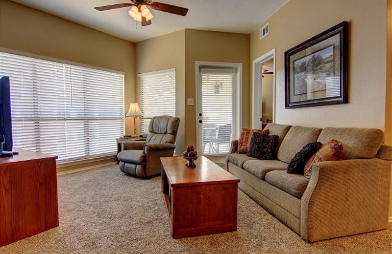 Rental living room at New Braunfels Escapes.