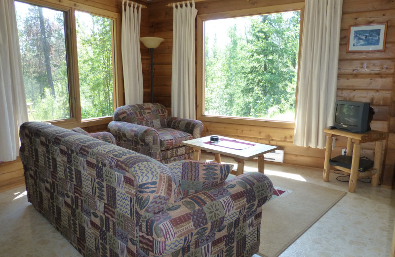 Living room of Bear Cabin at Mica Mountain Lodge & Log Cabins.
