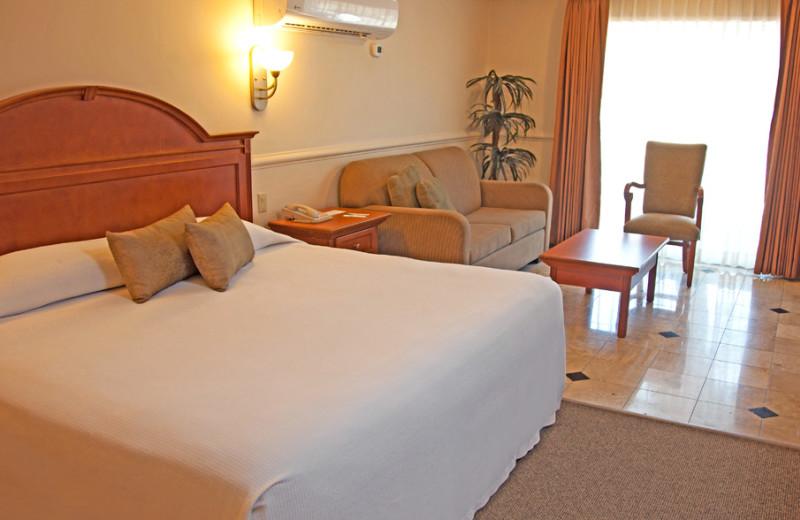 Guest room at Calafia Hotel.