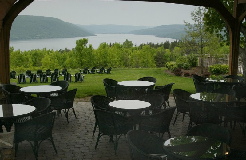 Outdoor dining at Bristol Harbour Resort.