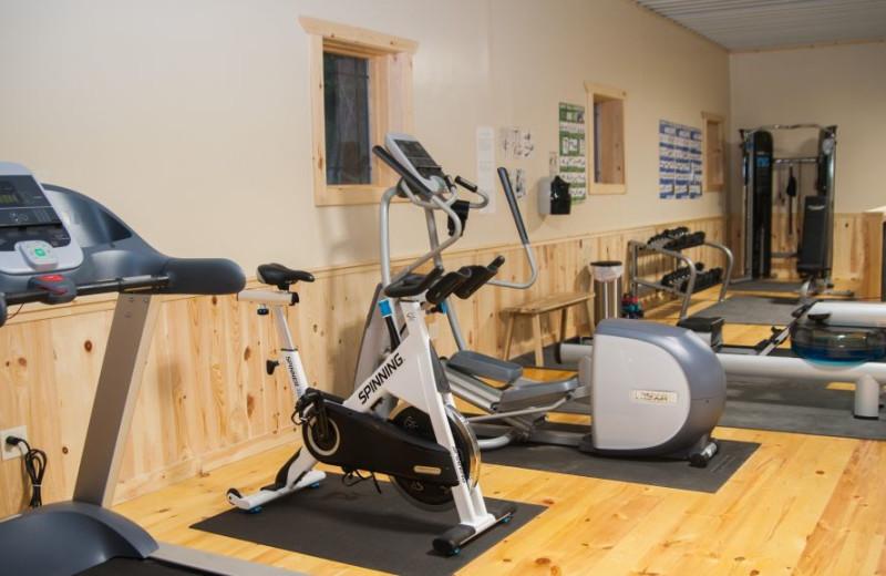 Fitness room at Campfire Bay Resort.