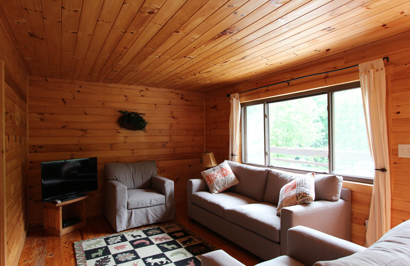 Cottage living room at Nantahala Village.