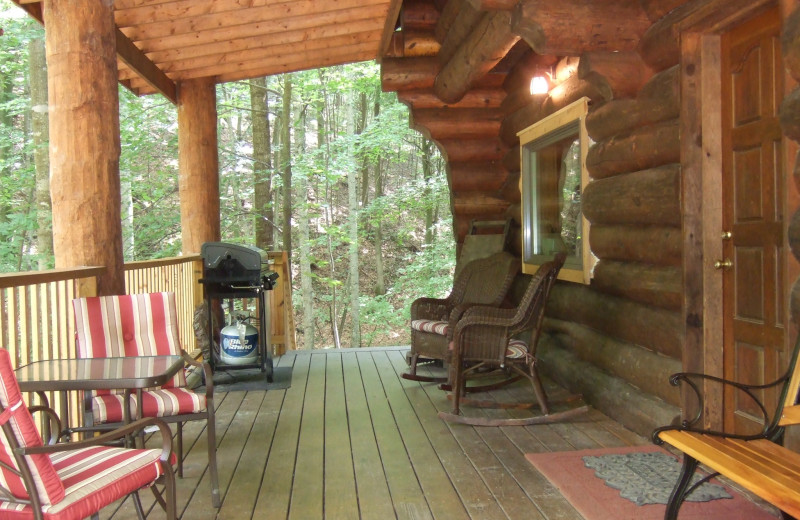 Cabin deck at Creeks Crossing Cabins.