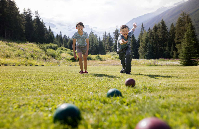 Yard games at CMH Cariboos Lodge.