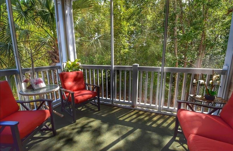 Rental patio at Barefoot Resort Rentals.