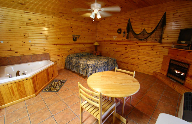Cabin interior at Ozark Cabins.
