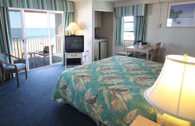 Oceanfront king room at Flagship Oceanfront Hotel Ocean City.