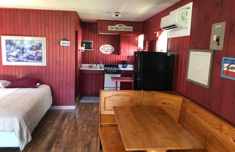 Cabin interior at Bell's Resort Bar and Grill.