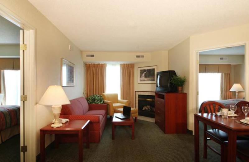 Guest suite at Homewood Suites by Hilton Dallas-Grapevine.