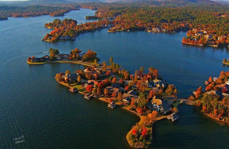 Aerial view of lake at Hot Springs Village Rentals.