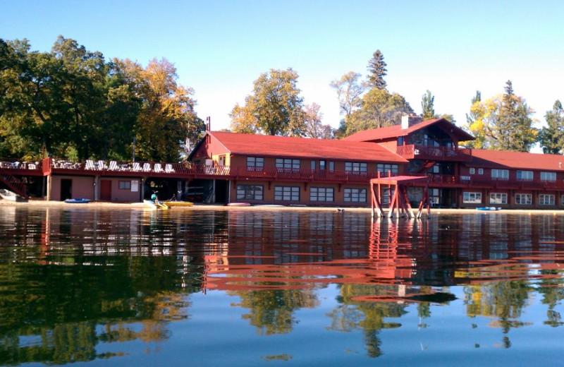 Resort from lake at Fair Hills Resort.