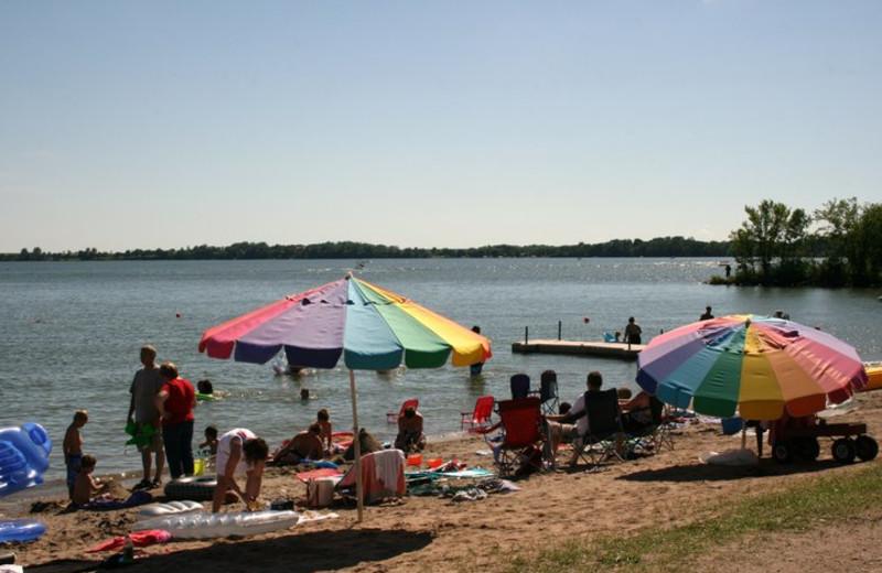 The beach at Ten Mile Lake Resort.