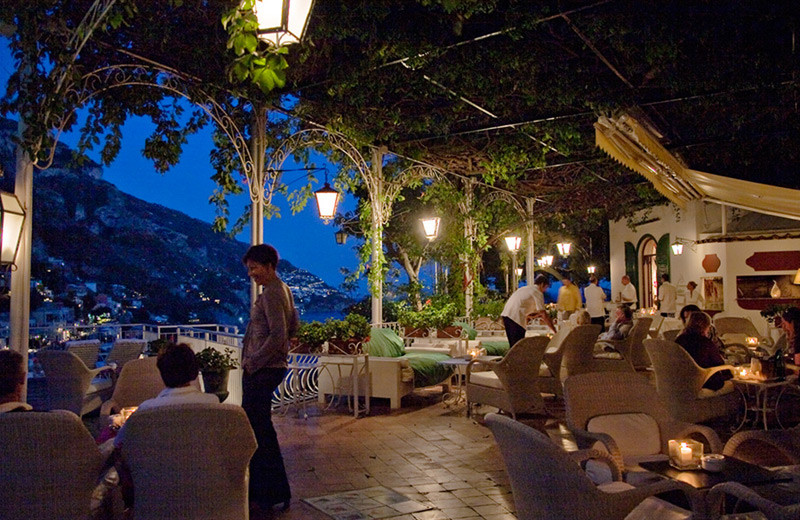 Dining at Romantik Hotel Poseidon.